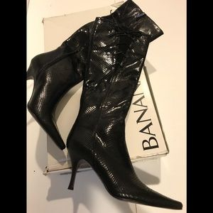 👢BANANA REPUBLIC black leather tall boots NWT